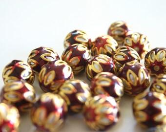 SALE Maroon spheres - Floral Cloisonné Meena beads (2) 13mm