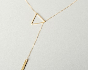 Triangle Lariat Necklace, Bar Necklace, Vertical Bar Necklace, Triangle Necklace, Delicate Necklace, Gold Triangle, Valentines Day