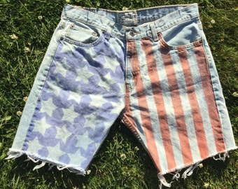 Bleached & Faded // American Flag Jean Shorts in Sapphire Blue