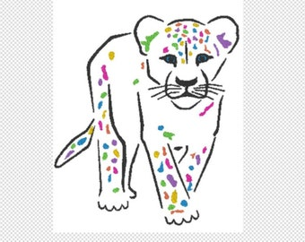 Colorful Leopard Embroidery Design File - multiple formats - 5x7 hoop - instant download