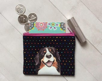 Bernese Mountain Dog Coin Purse, Change Pouch, Dog Lover Gift, Dog Birthday Gift, Cotton Pouch, Small Gift, Gift For Her, Polka Dot Fabric