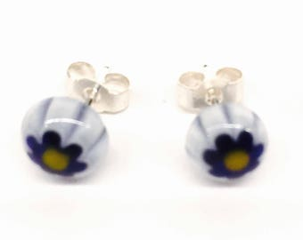 Murano Glass Millefiori Stud Earrings - White and Blue Flower on Sterling Silver Stud Post