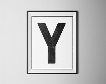 "INSTANT DOWNLOAD Letter ""Y"" Printable Monogram, art print 8x10"