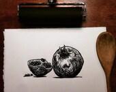 Pomegranate: Linocut orig...