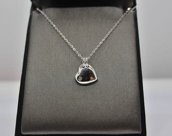 Sterling Silver Dangling Heart with CZ Pendant Necklace