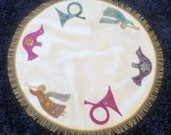 "Stunning Vintage Sequined Applique Beaded Fringe Christmas Tree Skirt Tablecloth - Angels Horns Birds SHABBY 38"""