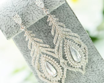 Bridal Earrings Wedding Earrings Bridal Chandelier Earrings Silver Zircon Earrings Swarovski Crystal Earrings