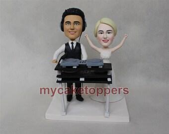 DJ wedding cake toppers, bride and groom, DJ desk, DJ, headset, custom cake topper, cake topper for wedding