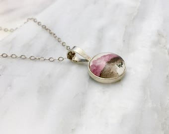 Perylene Violet Sunset - Abstract Watercolor Necklace - Sterling Silver