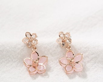 pink cherry blossom drop earring