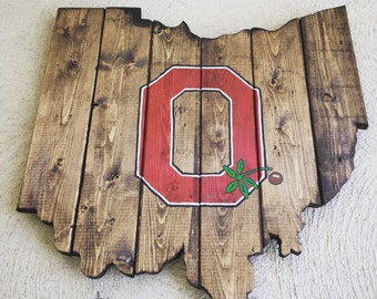Super Rad Reclaimed & Upcycled Ohio State Buckeyes Rustic Wood Sign Cutout Wall Art Decor
