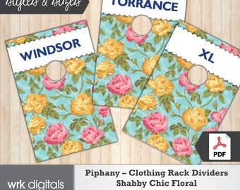 Piphany Clothing Rack Dividers, Size Chart, Style Cards, Shabby Chic Floral Design, Fashion Stylist, Direct Sales, INSTANT DOWNLOAD