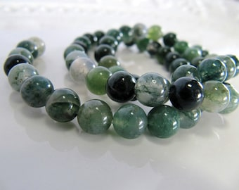 6mm Moss AGATE Beads in Moss Green, Sage Green, White Shades, Slightly Translucent, 57 Pcs, Round Smooth Gemstones