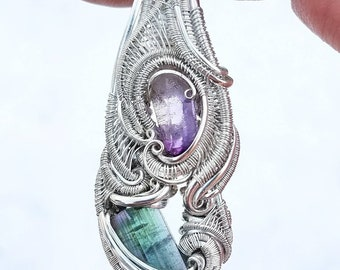 Amethyst and Tourmaline Crystal Wire Pendant