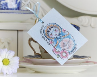 From Russia with Love Russian Doll tattoo handmade set of 3 gift tags