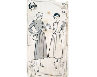 """Style 4842 Vintage 1940s Fitted Bodice and Flared Skirt Dress Sewing Pattern 2 Options Size Bust 34"""" UK 12"""
