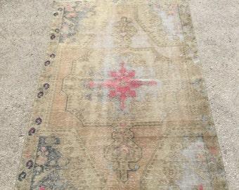 7.1x4.3 feet 216x130 cm, Anatolian Rug, Oushak Anatolian Carpet Rug, Tribal Rug,Vintage Turkish Rug,Bohemian Carpet Rug, Turkish Ethnic Rug,