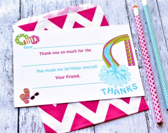 Pool Party Thank You Notes - Fill In The Blank - Kids Thank You Notes - Thank You Note - Pool Birthday Party - Pink Pool Party Design