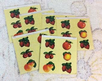 6 Sheets of 1989 Dennison Fruit Stickers Seals Retro Collectible Scrap Booking Paper Ephemera