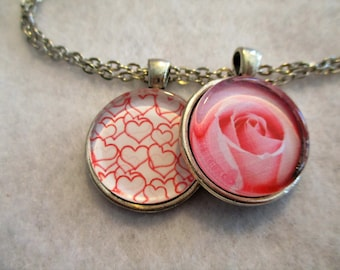 Set of 2 Cabochon PENDANTS with Necklace *** Red HEARTS & A Big Pink ROSE