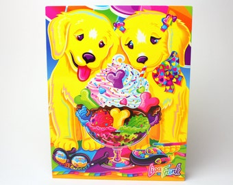 "Vintage Lisa Frank Casey & Candy ""Puppy Love""  2 Pocket Folder -  Puppies 3 Ring Binder Collectible Retro School Supplies"