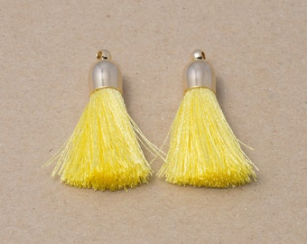Nice Yellow Cotton Tassel, Jewelry Supplies, Simple Tassel Polished Gold Plated over Brass - 2 Pieces-[GP0001]-NICEYELLOW/PG