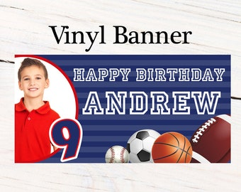 All Star Sports Birthday Banner  ~ Personalized First Birthday Party Banners - Photo Banner, Football Personalized Banner, Custom Banner