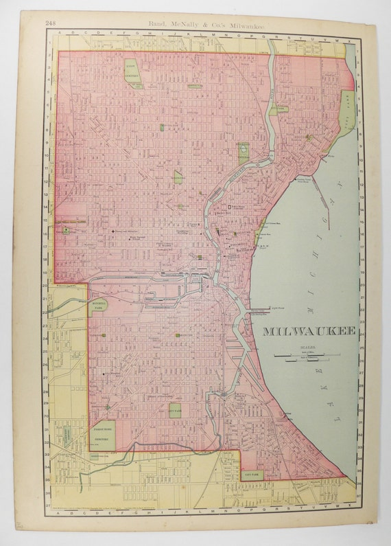 Large Vintage Map Milwaukee WI Unique Wedding Gift For - Vintage milwaukee map