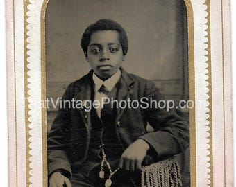 Vintage Tintype Photograph Handsome and wealthy Victorian Boy