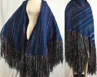 Vintage 70s fringed Rainbow Wool cape poncho