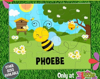 "Busy Bees Puzzle - Personalized 8 x 10"" Puzzle - Personalized Name Puzzle - Personalized Children Puzzle - Personalized Bee Puzzle"
