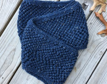 Blue Wool Knit Infinity Scarf