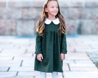 Anne of Green Gables,  Red, gray, Green, girls dress toddler christmas dress peter pan collar