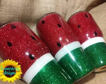 Glittered Watermelon Inspired Stainless Steel Tumbler
