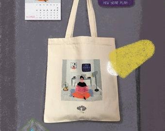 Escape From Bad New Year Plans Canvas Tote Bag, Shopper, Shoulder Bag, Fair Trade, Gift for Her, Shopper Bag, Gabardine Bag, Countdown Print