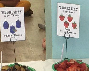 Very Hungry Caterpillar Food Signs