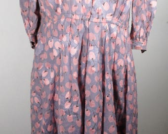 "70s Vintage Womens Pink&Purple Cherry Print Dress SMALL Size 9(Bust 35"") Made in Japan - 3/4 Length Sleeves-Cotton -Quality Vintage Fashion-"