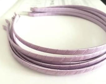 10pieces light  purple satin metal hair headband covered 5mm wide