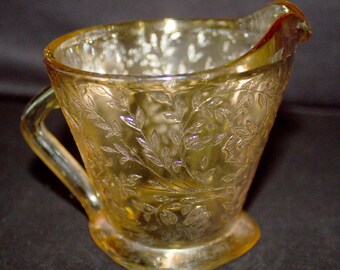 Vintage Jeannette Glass FLORAGOLD LOUISA CREAMER - Gold Iridescent Floral Pattern
