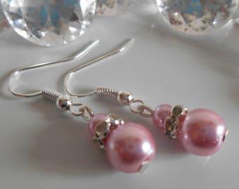 Rhinestones and pearls pink wedding earrings vintage