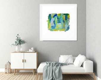 Abstract Watercolor, Framed Wall Art, Blue And Green, Watercolor Painting, Abstract Art Print, Framed Print, Framed Watercolor