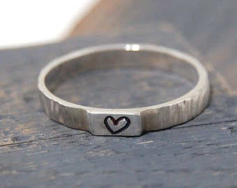 Sterling Silver Ring with Heart Hand Stamped, Heart Hand Ring, Heart Hand Stamped Silver Ring, Heart Wedding Band, Love Ring, Heart Ring
