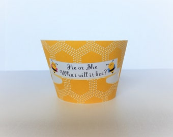 Bee Cupcake Wrapper, What will it bee? Cupcake sleeve, gender reveal bee cupcake wrapper