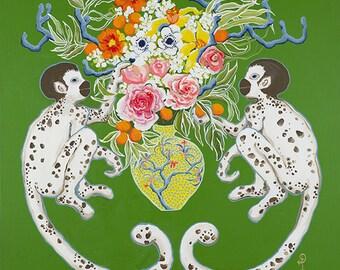 Monkeys on green with bouquet by Paige Gemmel