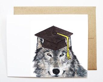 Graduation Card - Wolf, Grad Card, College Graduation, High School Grad, Congrats Grad, Congrats Card, Cute Animal Card, Wolf Card
