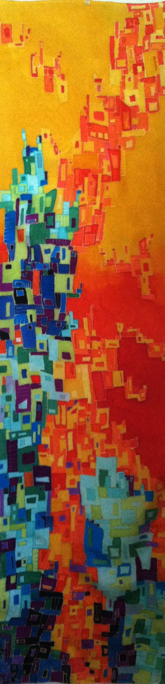 FALLING APART -Hand Painted Silk Wall Hanging