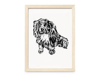 Dog Print - Wall Art - A5 - Linocut