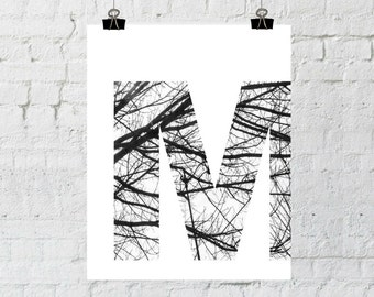 Letter M Wall Art, Monogram, Wall Art Prints, Scandinavian Art, Nordic Design,Tree Branch Art, Home Decor, Instant Download, Printable