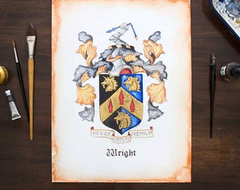 "Custom Coat of Arms or Original Family Crest Art - Heraldry Art with Gold and Silver Leaf - 8"" by 10"" size  / unique anniversary gift"