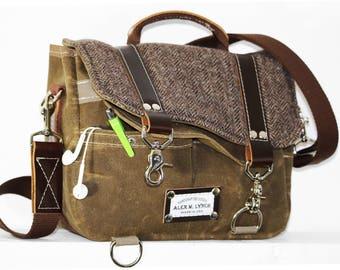 PETITE Waxed Canvas and Herringbone Wool Messenger bag - cross body bag handmade by Alex M Lynch - 010025